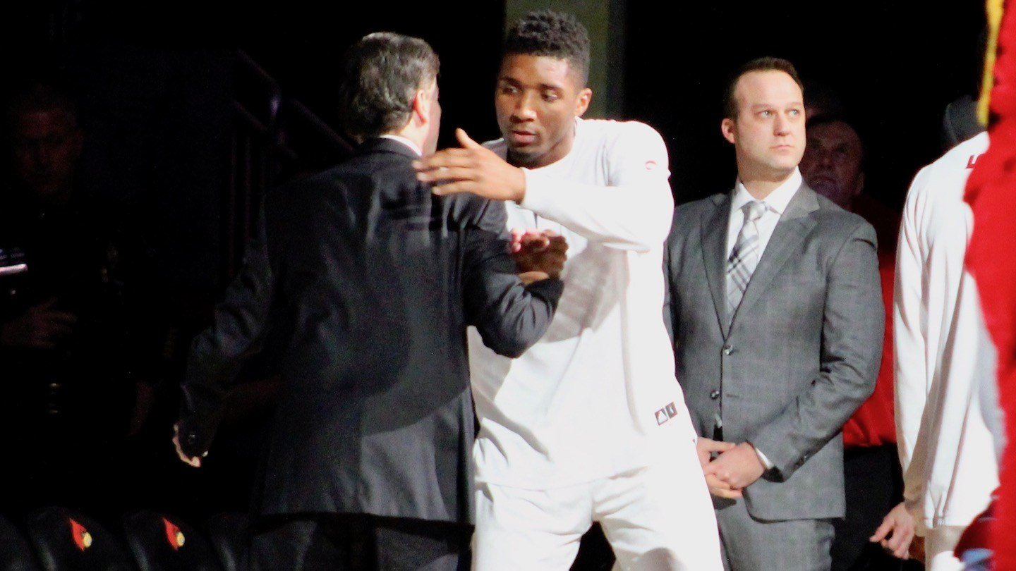 """Donovan Mitchell said playing for Rick Pitino """"is amazing,"""" but took some getting used to. (WDRB photo by Eric Crawford)"""