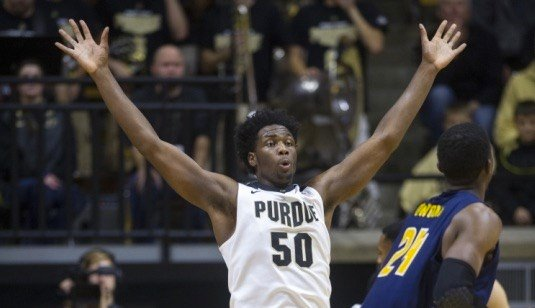 Purdue forward Caleb Swanigan is a frontrunner in a  wide-open race for the Wooden Award (AP photo).