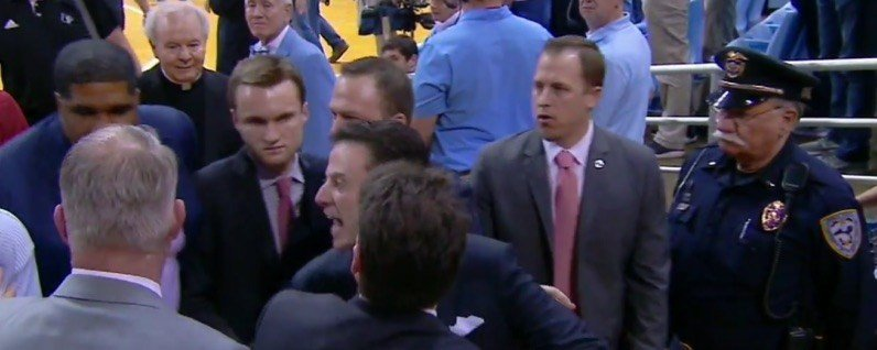 Louisville coach Rick Pitino was angered by something a fan shouted at North Carolina Wednesday night. (Photo by ESPN)