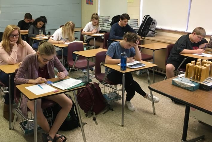 Students take a test during a math class at Atherton High School on Friday, Feb. 24, 2017 (Photo by Toni Konz, WDRB News)