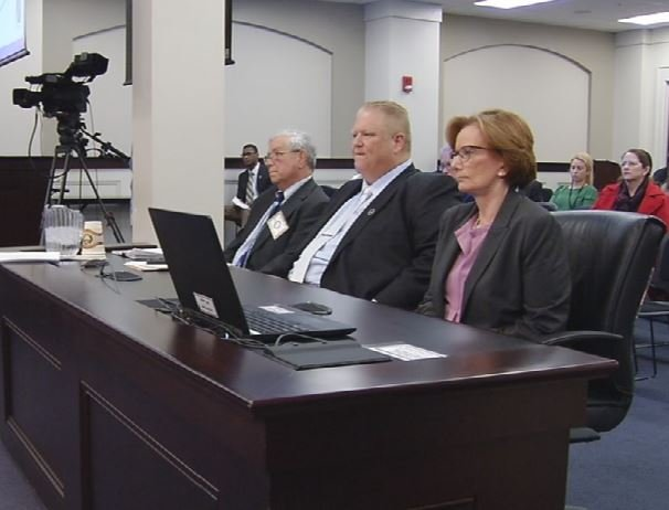 Rep. Kevin Bratcher, R-Louisville, and Superintendent Donna Hargens testify before the House Education Committee on Feb. 16, 2017. (WDRB News file photo)