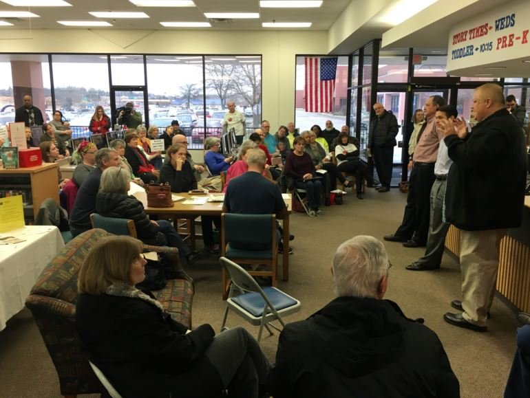 Rep. Kevin Bratcher's neighborhood schools bill quickly became the topic at Saturday's town hall meeting in Fern Creek. (Photo by Toni Konz, WDRB News)