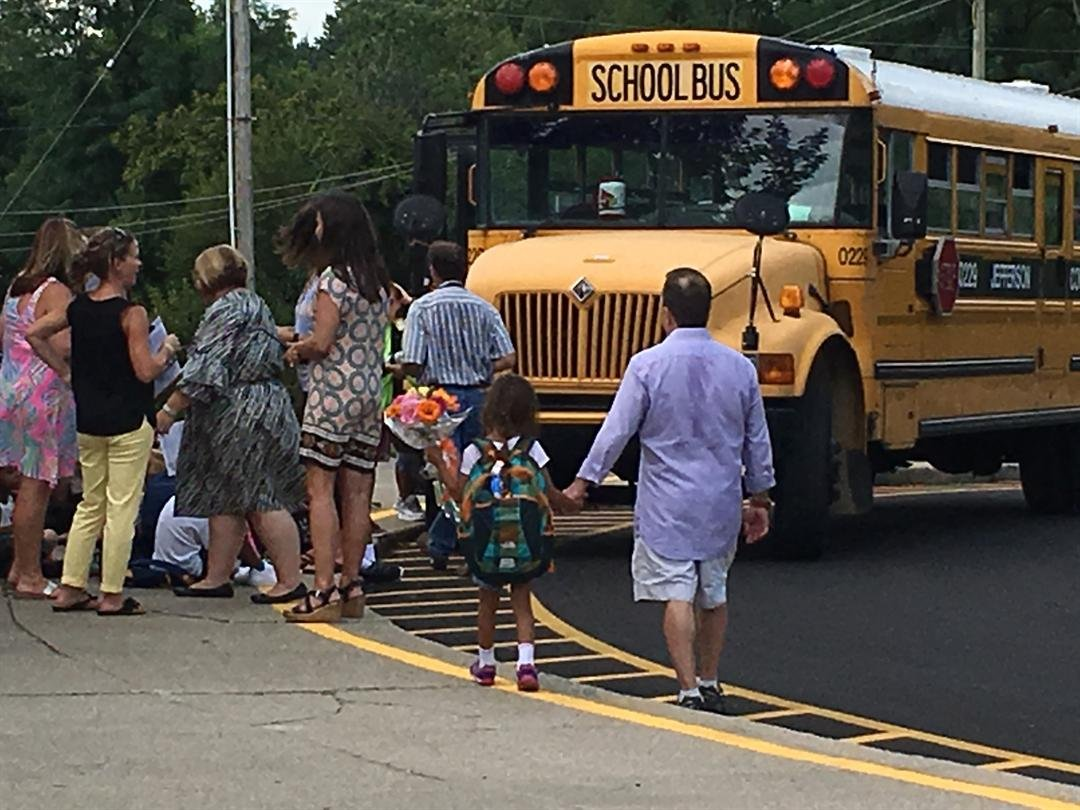 Dismissal time at Dunn Elementary School on the first day of school - Aug. 10, 2016. (WDRB News file photo)