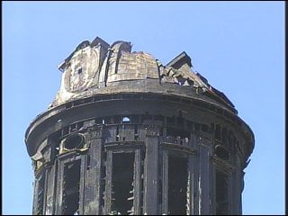 The damaged dome once the fire was put out.
