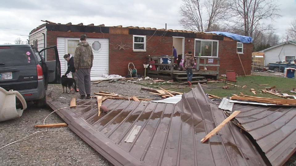 Roof ripped off a home in Austin, In.