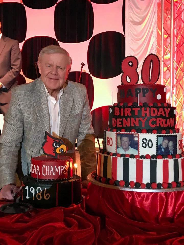 Former U of L men's basketball coach Denny Crum celebrated his 80th birthday Wednesday night.