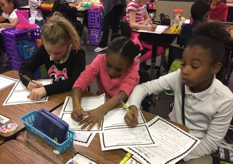 Wellington Elementary School students work on an assignment on Friday (Photo by Chris Sutter, WDRB News)