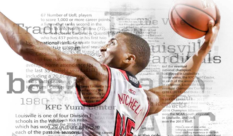 Detail of a Donovan Mitchell graphic in the Louisville media guide. Louisville athletics photo.