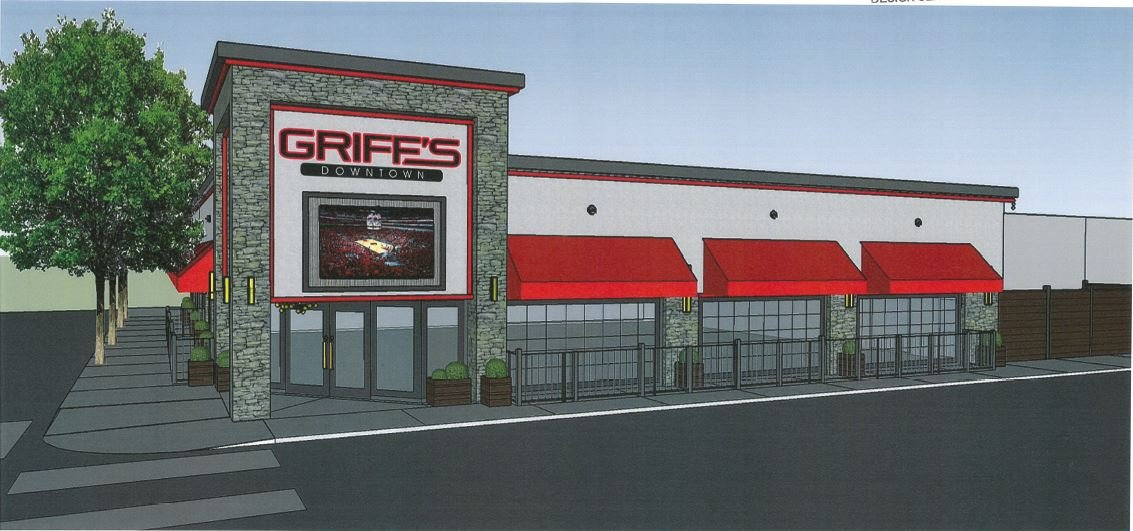A rendering of the planned Griff's sports bar at 2nd and Liberty streets in downtown Louisville.