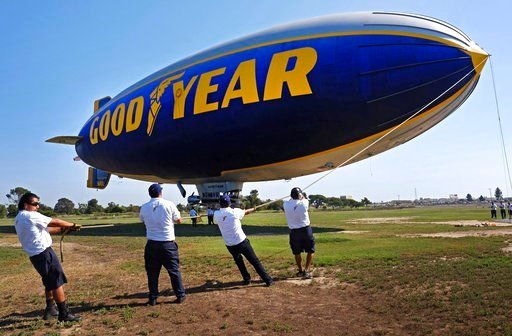 """(AP Photo/Eric Risberg, File). FILE - This Feb. 5, 2016 file photo shows the Goodyear Blimp """"Spirit of Innovation"""" lands after a flight over Super Bowl fan sites at the airport in Livermore, Calif."""