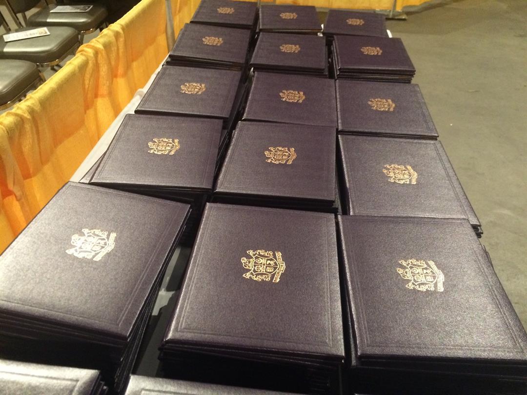 Diplomas on display at Ballard High School's 2016 graduation (WDRB file photo)