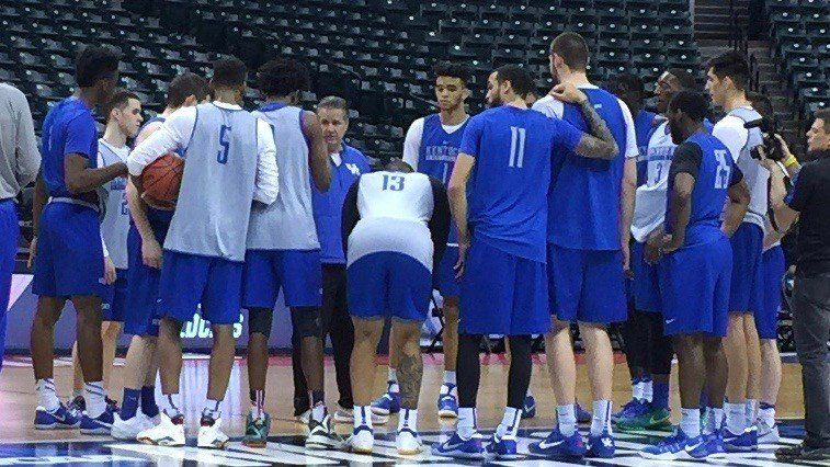 John Calipari talks to his team during a shootaround for Friday's NCAA Tournament game against Northern Kentucky in Bankers Life Fieldhouse. (WDRB photo by Eric Crawford)