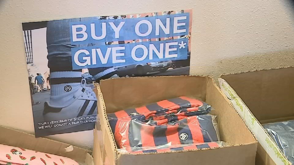 When customers purchase a pair of socks from Sky Footwear, a pair is donated to the homeless.