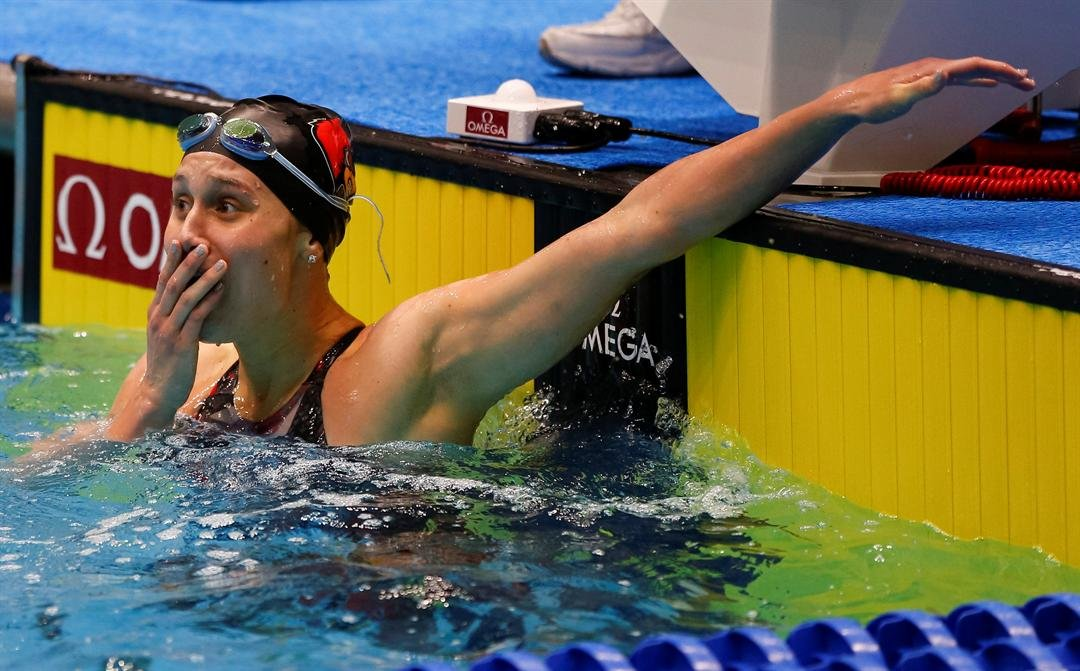 Louisville sophomore Mallory Comerford realizes she has tied Katie Ladecky for the 200 freestyle NCAA championship. (Photo courtesy of Louisville athletics)