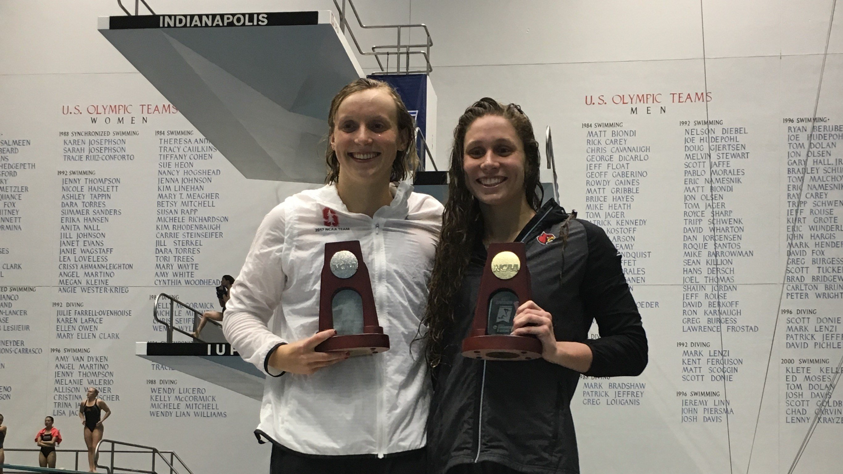 Katie Ledecky and Mallory Comerford celebrate their shared 200 freestyle NCAA title (Photo courtesy of Louisville athletics)