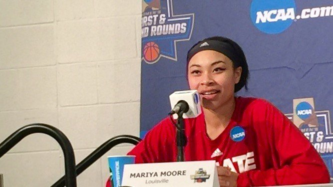 Mariya Moore talks about her three-point shooting that boosted Louisville past Tennessee Monday night. (WDRB photo by Eric Crawford)