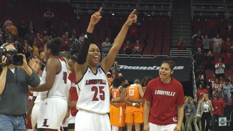 Asia Durr celebrates Louisville's win over Tennessee. (WDRB photo by Eric Crawford)
