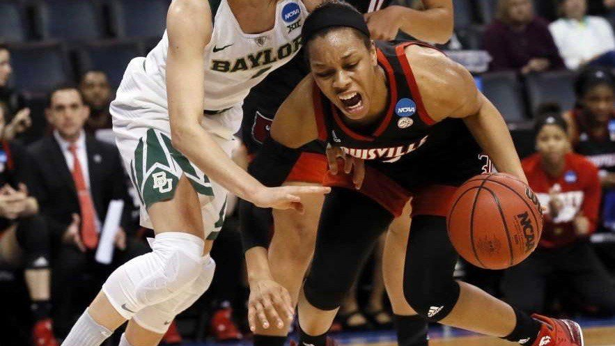 Louisville's Asia Durr struggles to find open space in Friday's loss to Baylor. (AP photo)