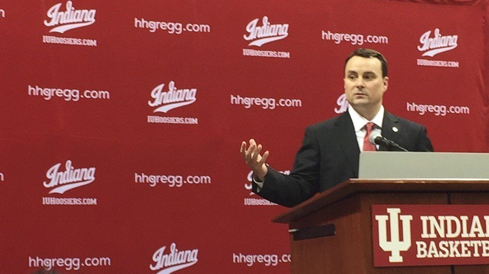 Archie Miller speaks at his Indiana introductory news conference (WDRB photo by Eric Crawford)