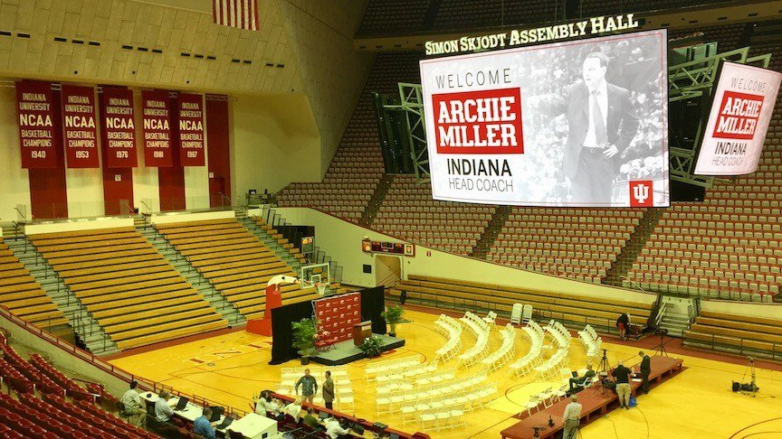 Indiana decked out Assembly Hall for Archie Miller's introduction (WDRB photo by Eric Crawford)