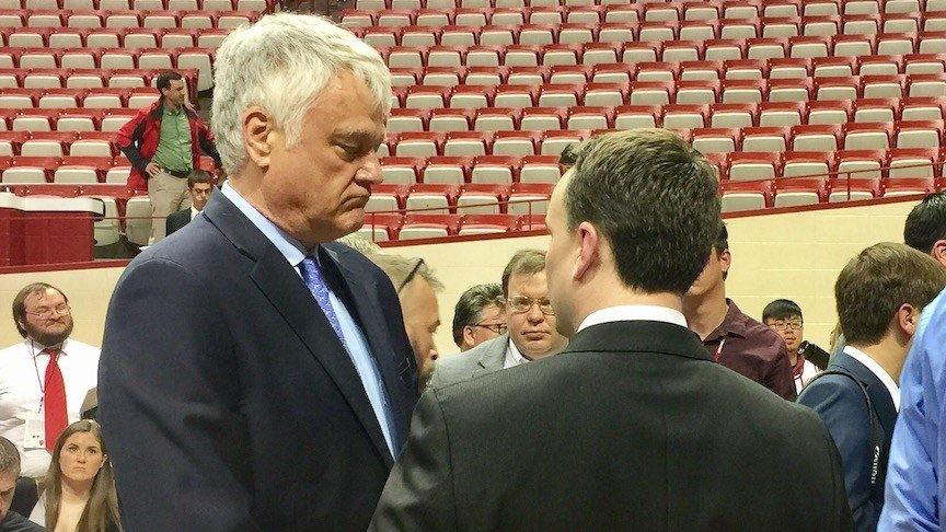 New Indiana basketball coach Archie Miller confers with WDRB's Rick Bozich (WDRB photo by Eric Crawford)