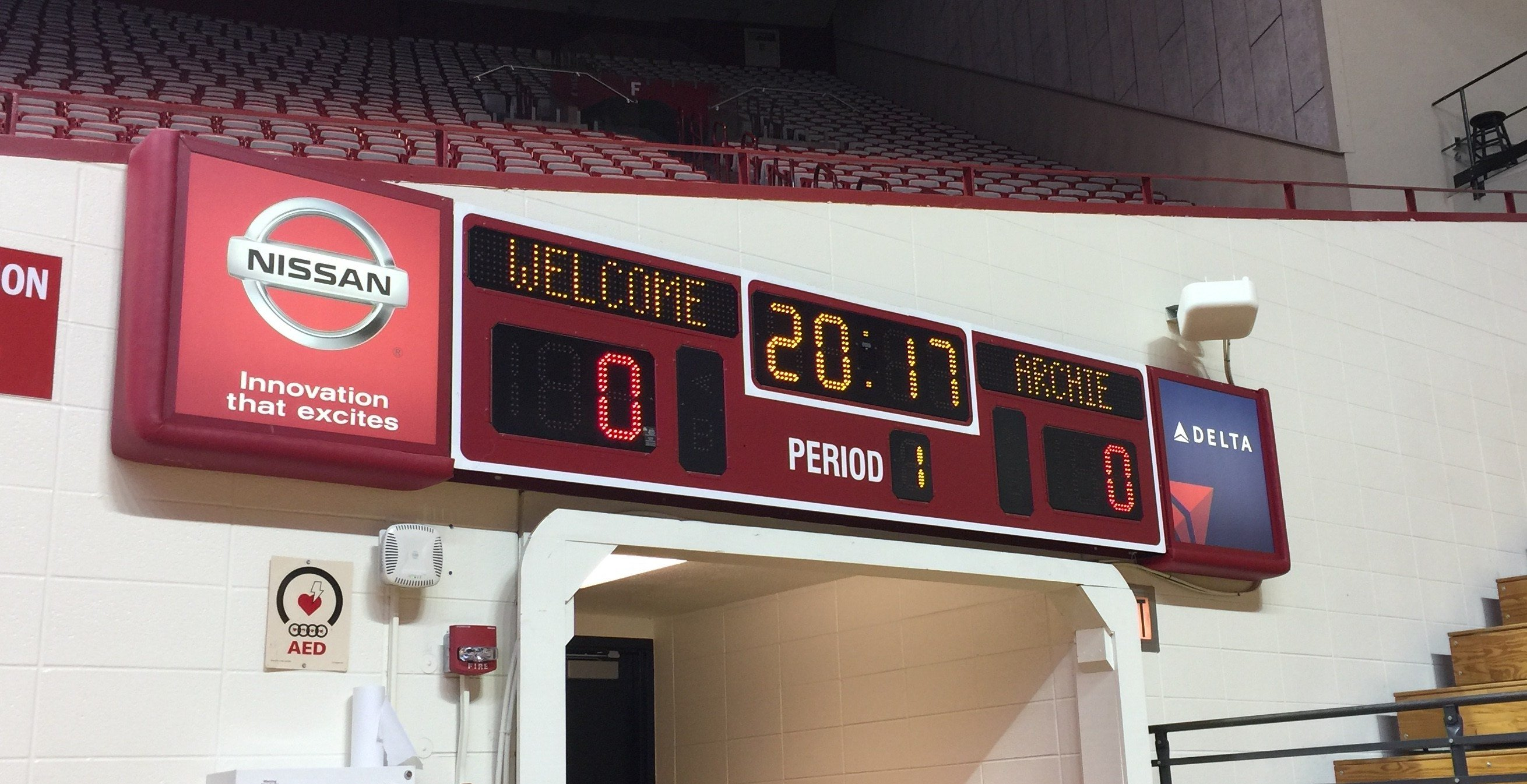 Scoreboards in Assembly Hall welcome new Indiana coach Archie Miller (WDRB photo by Eric Crawford)