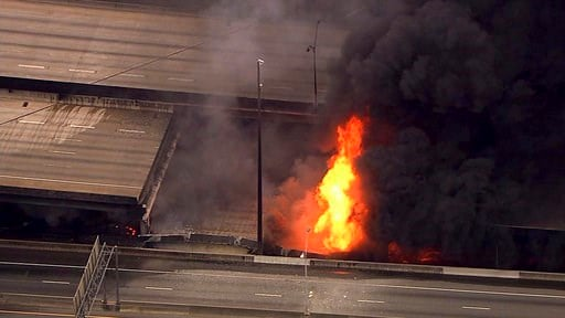 (WSB-TV via AP). In this aerial image made from a video provided by WSB-TV, a large fire that caused an overpass on Interstate 85 to collapse burns in Atlanta, Thursday, March 30, 2017.