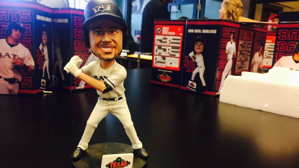 Adam Duvall -- the Bobblehead (WDRB photo by Eric Crawford)