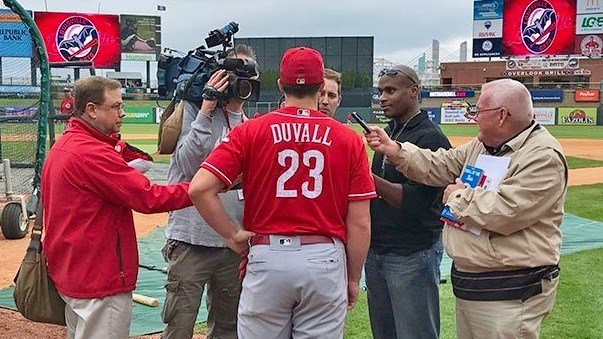 Duvall speaks with reporters before Friday's exhibition in Louisville Slugger Field. (WDRB photo by John Lewis)