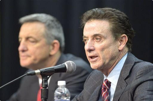 Louisville basketball coach Rick Pitino, and Chuck Smrt, who is representing the school in its NCAA hearing (AP photo)