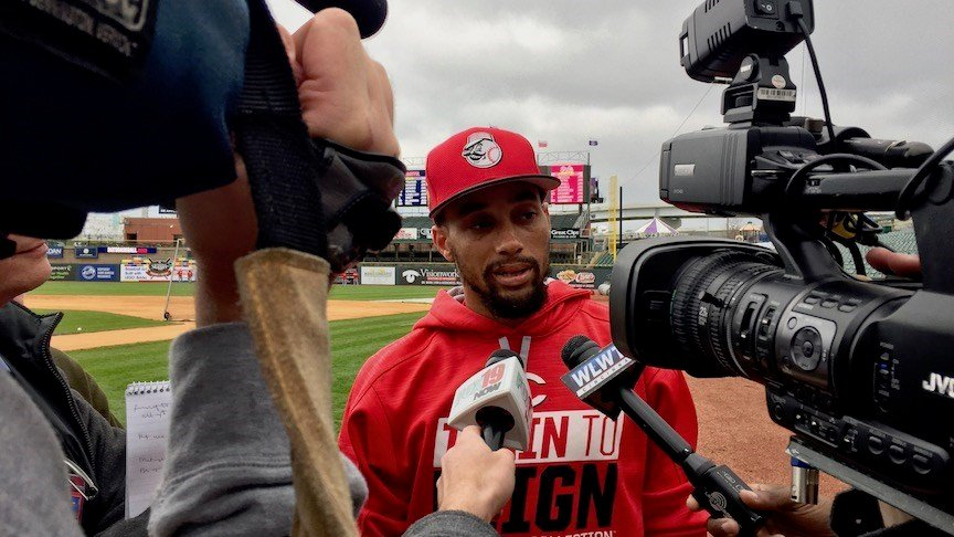 Cincinnati outfielder Billy Hamilton talks to reporters in Louisville before an exhibition game. (WDRB photo by Eric Crawford)