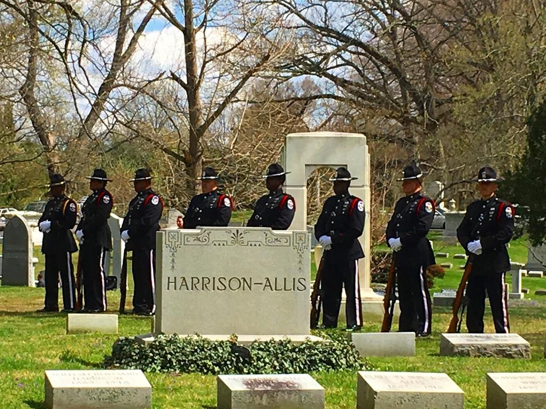Officers prepare for a 21-gun salute at LMPD Officer Nick Rodman's graveside service (Photo by Toni Konz, WDRB News)