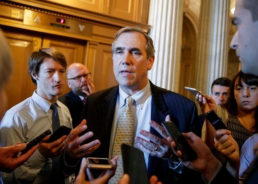 (AP Photo/J. Scott Applewhite). Sen. Jeff Merkley, D-Ore. speaks to reporters just outside the Senate chamber on Capitol Hill in Washington, Wednesday, April 5, 2017, after he ended a 15 hour all-night talk-a-thon as the Senate heads toward a showdown.