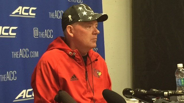 Bobby Petrino answered questioned after Louisville's closed football scrimmage Saturday.