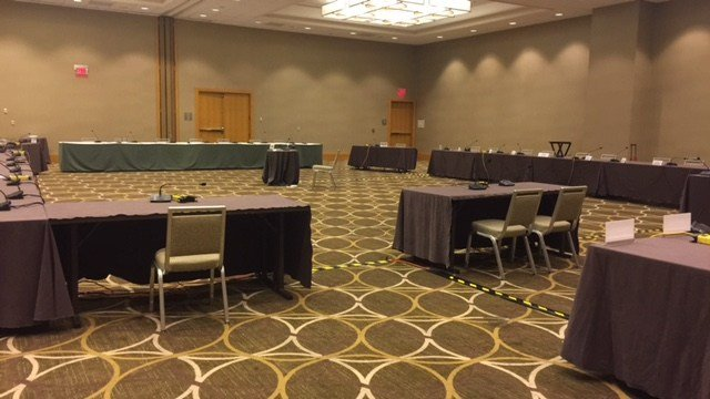 The room in Cincinnati where Louisville's NCAA hearing was conducted (WDRB photo by Eric Crawford)