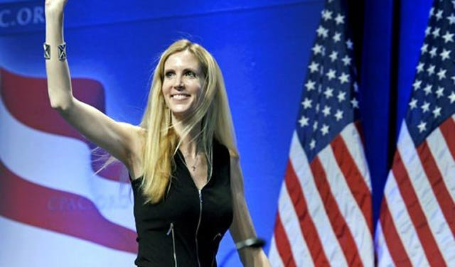 (AP Photo/Cliff Owen, File). FILE - In this Feb. 12, 2011 file photo, Ann Coulter waves to the audience after speaking at the Conservative Political Action Conference (CPAC) in Washington.