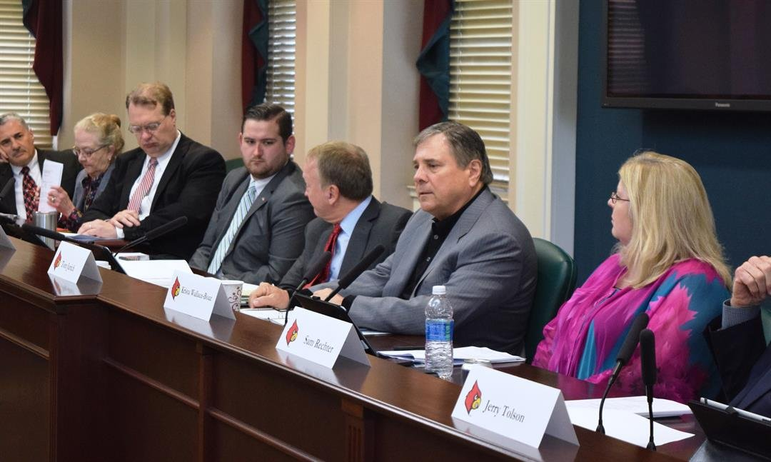 University of Louisville athletics director Tom Jurich at the ULAA board meeting, April 27, 2017.