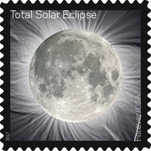 (U.S. Postal Service via AP). This image provided by the U.S. Postal Service shows a Total Solar Eclipse Forever stamp. The stamp, that when touched transforms the image of the blacked-out sun into the moon, comes out in June 2017.