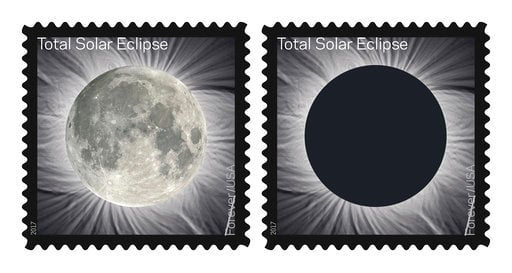 (U.S. Postal Service via AP). These images provided by the U.S. Postal Service shows The Total Solar Eclipse Forever stamp. The Postal Service will soon release a first-of-its-kind stamp that changes when you touch it.