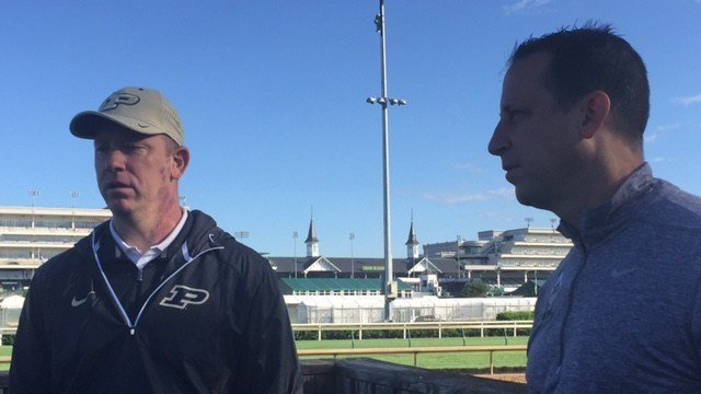 Purdue football coach Jeff Brohm (left) and his brother Greg visited Churchill Downs Monday morning.