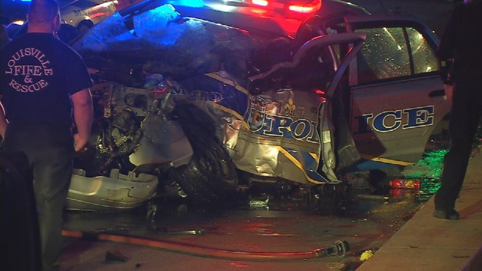 LMPD Officer Nick Rodman's cruiser after the crash in March.