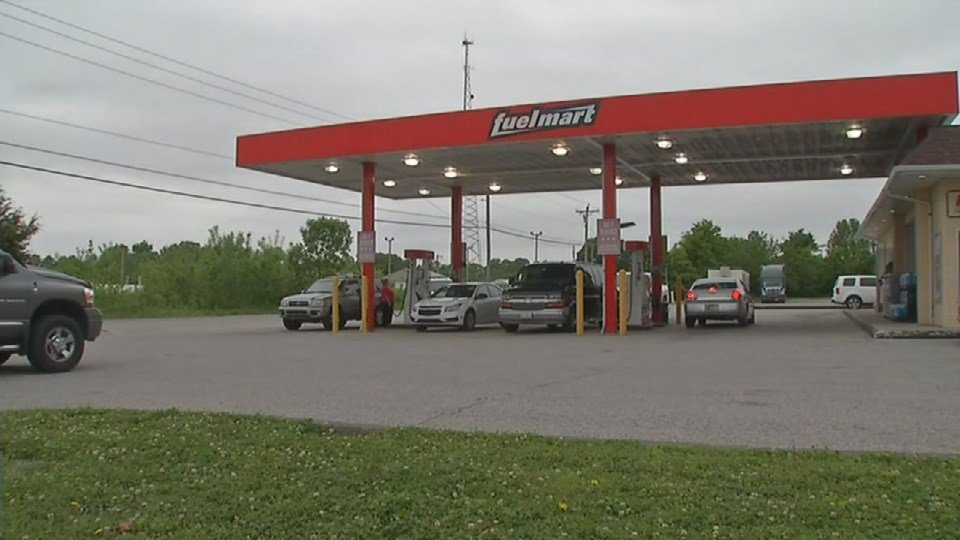 Police say a skimming device was found on one of the pumps Fuel Mart Truck Stop in Austin, Ind. on May 9, 2017.