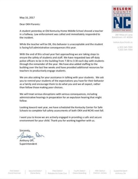 Superintendent Dr. Anthony Orr sent a letter to parents Tuesday addressing the incident.