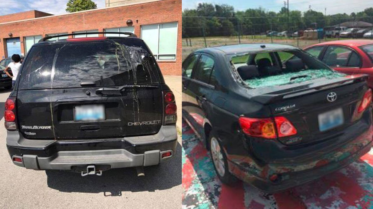 Two of the cars damaged by Ballard High students at Eastern High School on Wednesday. (Submitted photos)