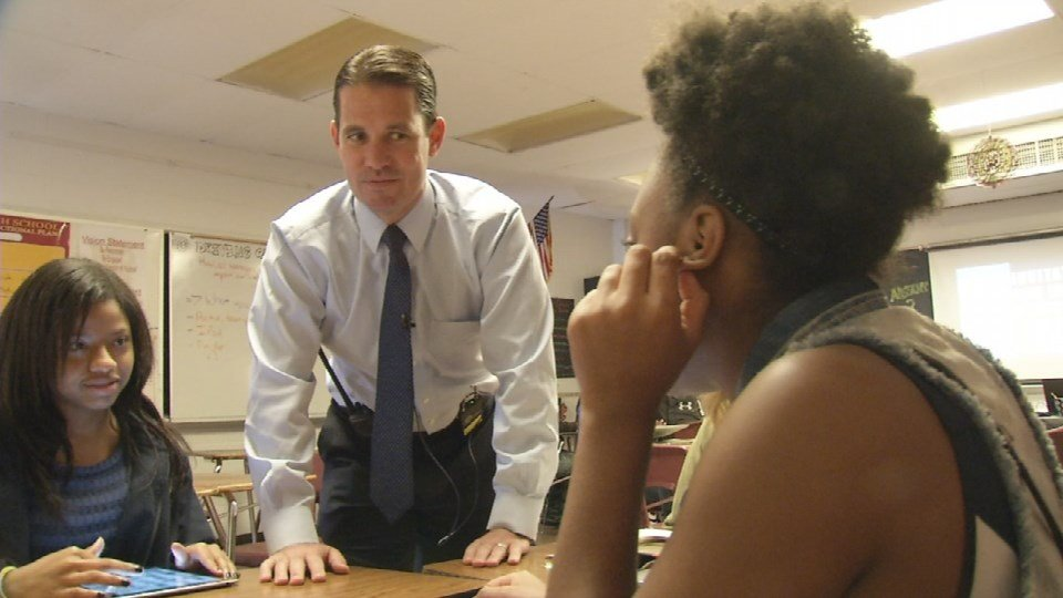 """I think that I will be a superintendent like I am a principal,"" he said. ""I've always been very hands-on and very active, very present ,"" Pollio says. (Photo by Toni Konz, WDRB News)"