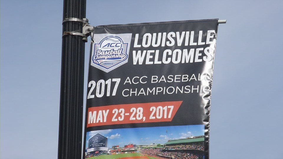 ACC Baseball banner in downtown Louisville