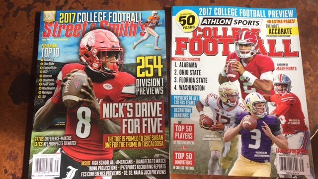The college football magazines have arrived -- 100 days before the start of the 2017 season.