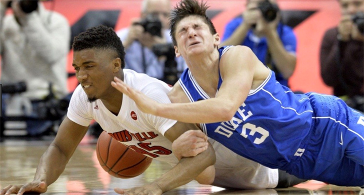 U of L's Donovan Mitchell outfought Duke's Grayson Allen for a loose ball last season.