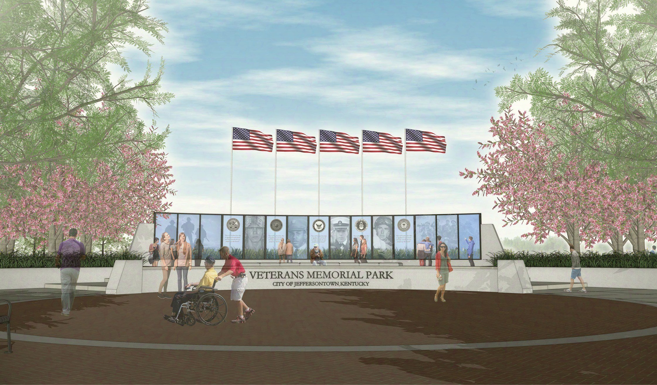 Rendering of Jeffersontown's planned Veterans Memorial Plaza.