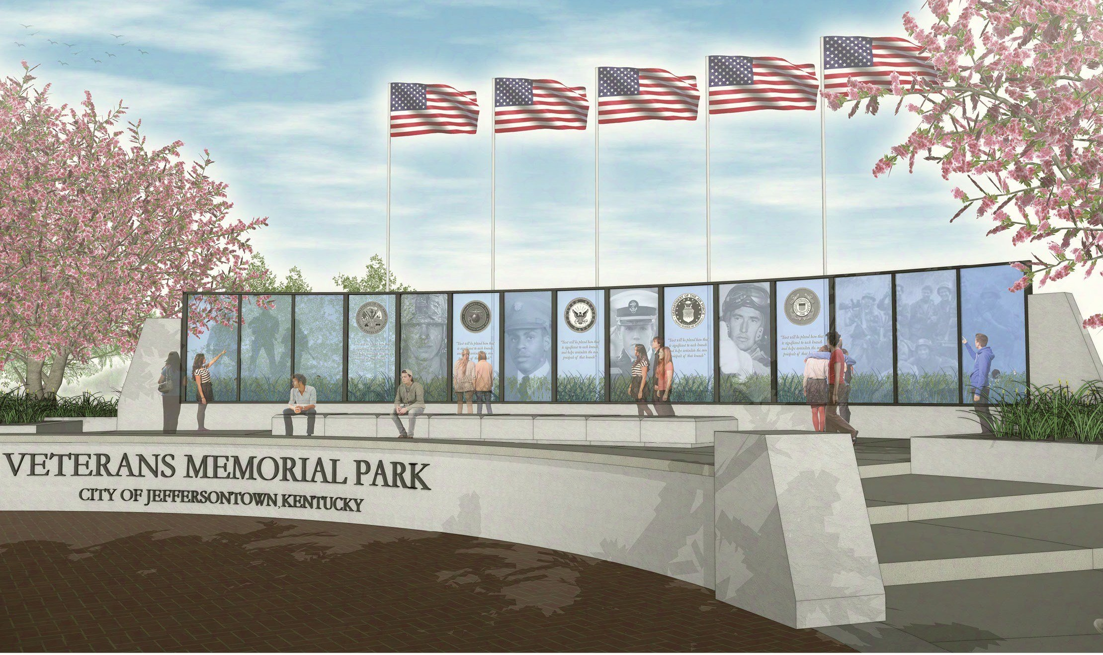 Rendering of Jeffersontown's planned Veterans Memorial Plaza.